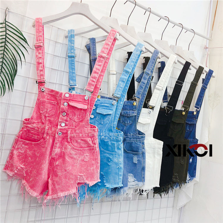 2018 Fashion Denim Bibs Schoolgirl Spring Summer New Loose Korean Thin Hole Burst Fringe Shorts There is a large yard (5)