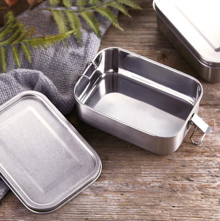 Eco Friendly Grand lunch box tin en acier inoxydable compartiment de rangement camping