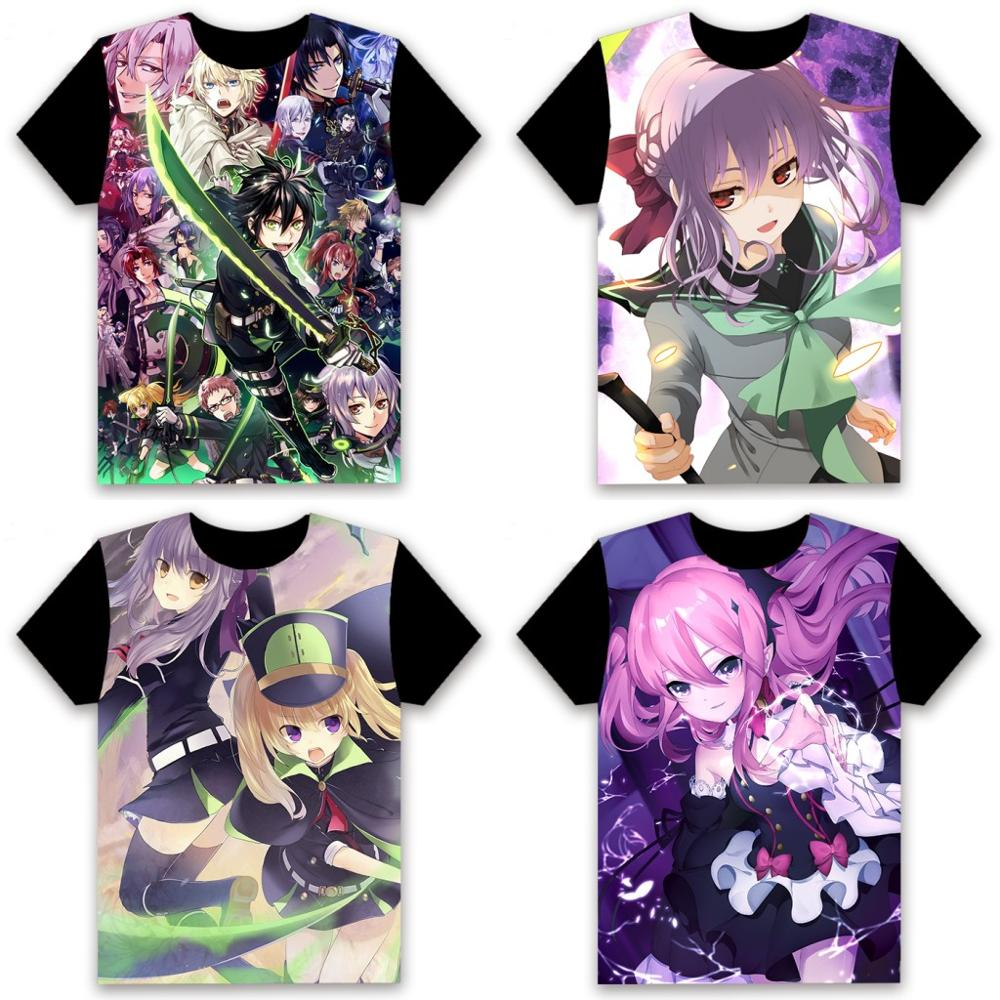 Anime Seraph of the End Hiiragi Shinoa T-shirt Full Color Printing Casual S-XXL