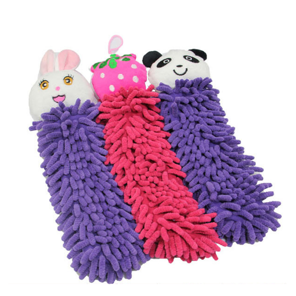 30CM Kitchen Hanging Towels Chenille Hand Face Wipe Towel Baby Kids Animal Bathroom Washcloths Handkerchief Random Color