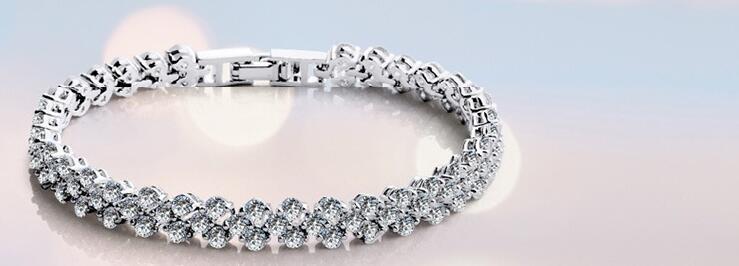 Plata Diamante Cristal Brazalete Pulsera Multi FILA Boda Baile de graduación