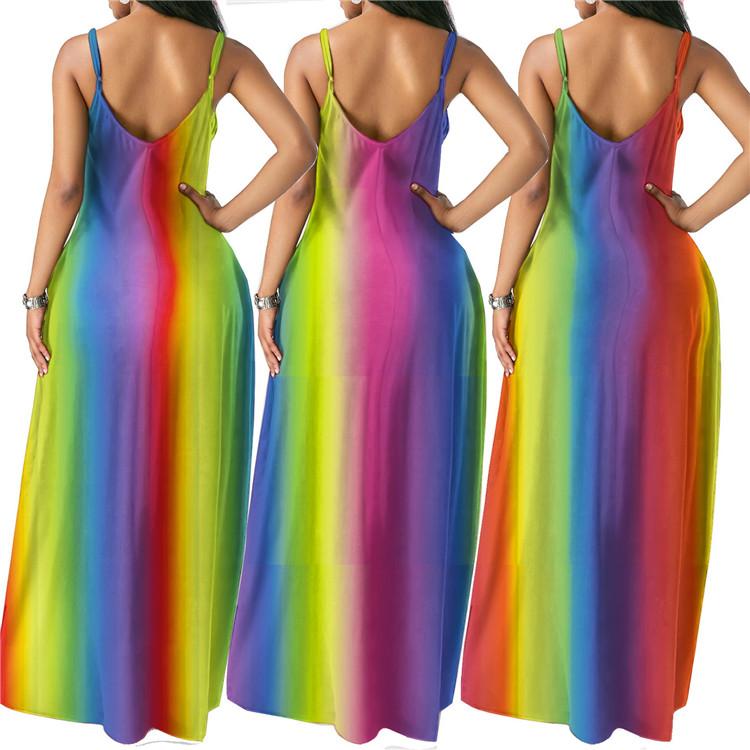 Новая мода Sexy женщин Sling платье Радуга Tie-краситель Bohemian Длинные платья вскользь