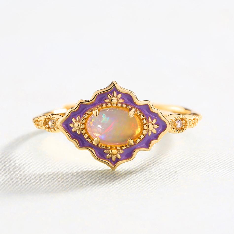 ALLNOEL 925 Sterling Silver Gemstone Rings For Women Vintage Real Natural Fire Opal Enamel Rainbow Ring Wedding Fine Jewelry (6)