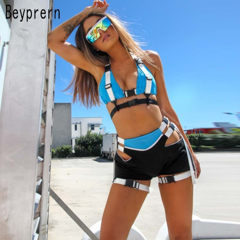 Beyprern Women Tracksuit Hollow Out Buckle Biker Shorts Set Two Piece Sexy Bustier Marching Set Festival Outfits Wholesale J190705