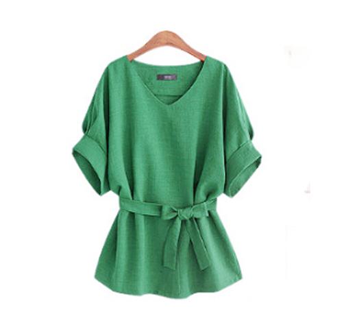 -Summer-5XL-Plus-Size-Women-Shirts-Linen-Tunic-Shirt-V-Neck-Big-Bow-Batwing-Tie (1)