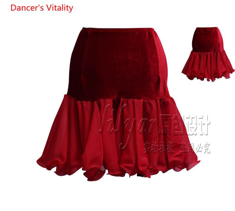 Whitewed Square Line Latin Ballroom Smooth Dance Wear Skirts Rehearsal Theater