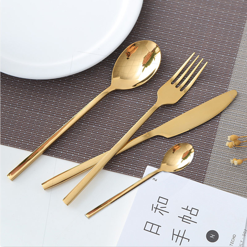 Kubac Hommi 2018 New Golden Top Quality Stainless Steel Steak Knife Fork Party Gold Cutlery Kinfe Forks Set Q190605