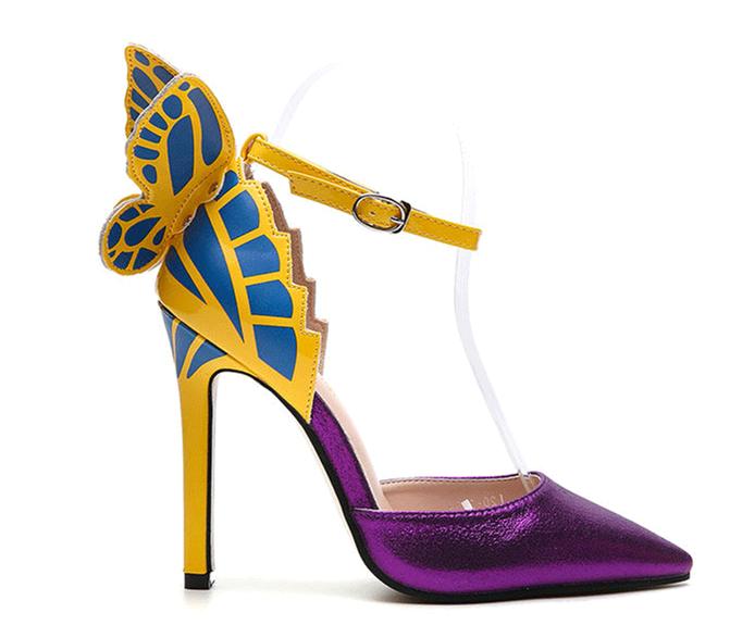 Chaussures /à talons hauts femmes sandales classiques HOT SALE Butterfly Wing chaussures /à talons hauts pointus violet