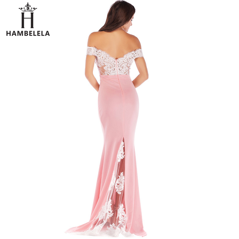 HAMBELELA Vestido De Festa Pink Black Red Mermaid Dress Lace Top Bodice Slim Long Formal Party Dress Charming Wedding Party Gown (14)