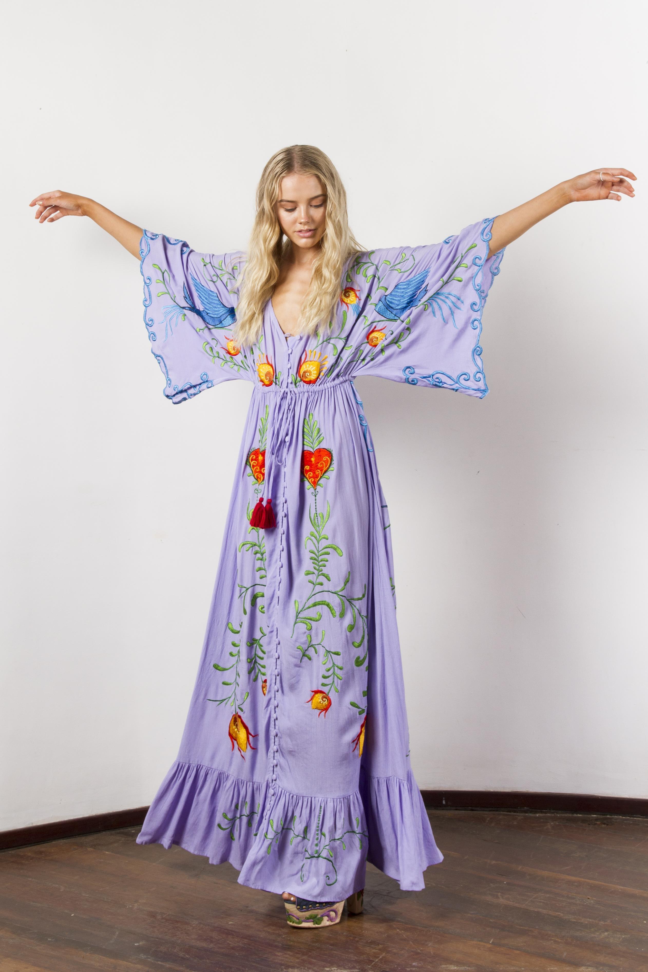 68e681f05824c 2019 Jastie Embroidered Women Maxi Dress V Neck Batwing Sleeve Loose Plus  Size Summer Dresses Drawstring Waist Boho Beach Vestidos Q190521 From ...