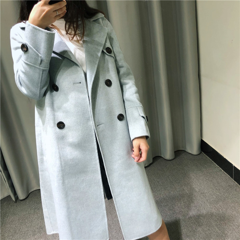 Cool 2019 Cashmere Long A: Basis The Wind. Two-sided Wool Woman Suit Lead Loose Coat And Pattern