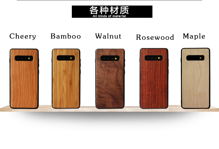 2019 Hot sell Wood+ Arc Edge TPU Phone Case For Samsung Galaxy S10 S10e s10 plus Back Cover Wooden Bamboo Cases For Iphone 7 8 6 x XR xsmax