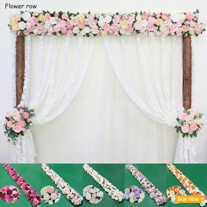 JAROWN Artificial Rose Flower Row Small Corner Flowers Simulation Silk Fake Flowers Wedding Decor Home Garland Decor Flores)