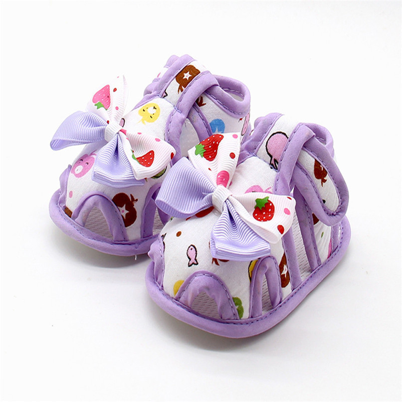 4 Color Summer Girls Shoes Newborn Infant Baby Girls Bow Print Soft Sole Toddler Anti-slip Shoes First Walker NDA84L23 (5)