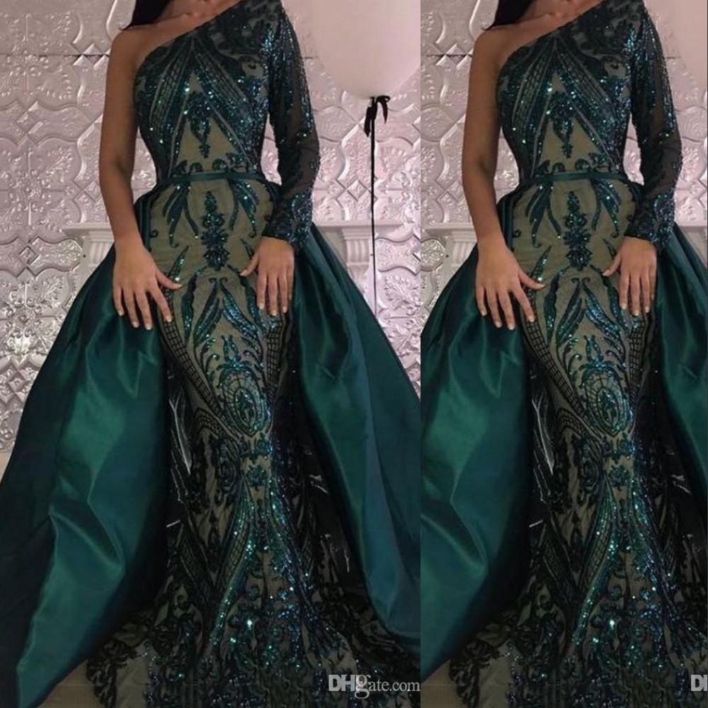 new bling smaragdgrün pailletten meerjungfrau abendkleider tragen arabisch  eine schulter langen Ärmeln pailletten overskirts kundenspezifische