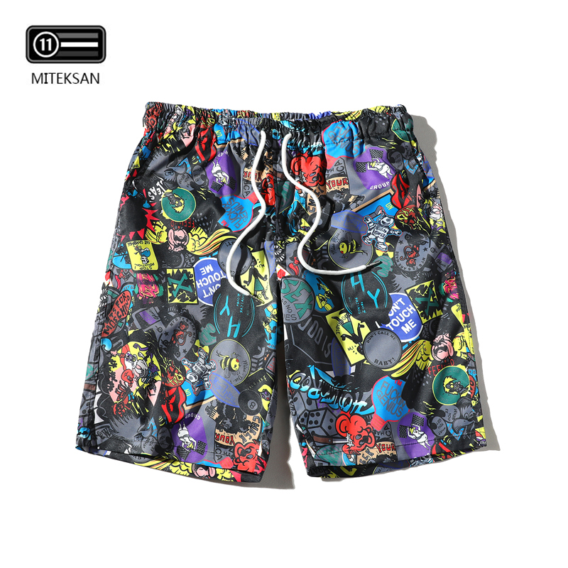 New Cartoon Fashion Cat In Famous Paintings Mens Beach Pants Casual Shorts For Man
