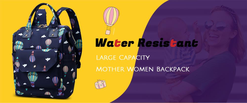Diaper Bag Cute Pattern Waterproof Large Capacity Mother Women Backpack (2)