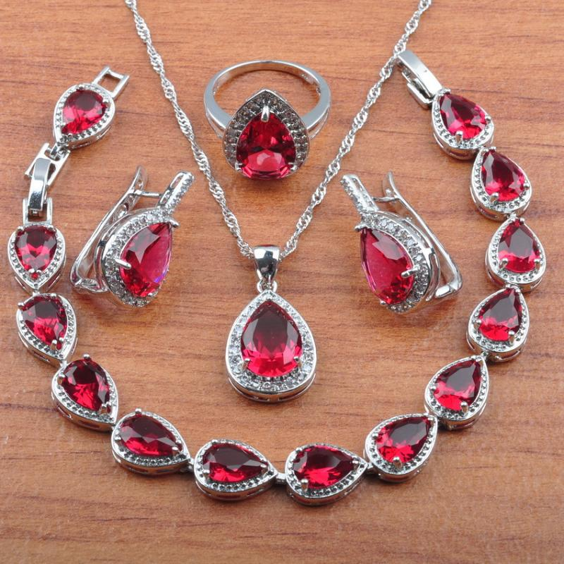 Color : White Color : Red Classic Necklace Ornament Elegant Necklace Home European and American Fashion Silver-Plated Earrings Zircon Teardrop Earrings