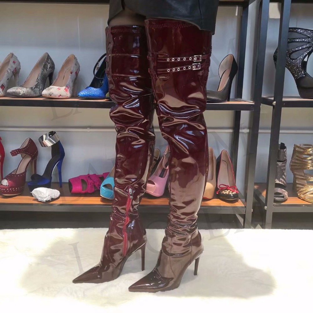 LAIGZEM SUPER Women Thigh High Boots Club Stage Show Shiny Heels Burgundy Wine Red Long Boots Botines Bottes Femme Mujer Big Size 34-47