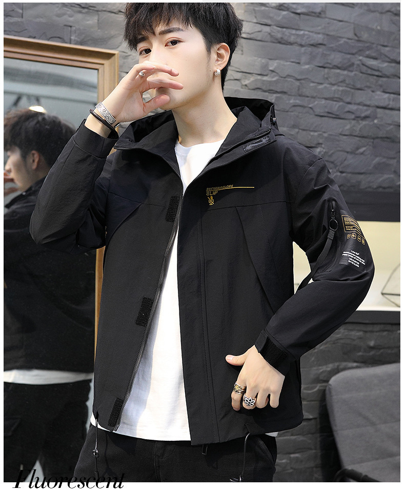 Pop2019 Spring Pattern Men's Cool Time Slim Loose Ephebe Thin Section Even Hat Jacket Trend Coat Magic Subsidies