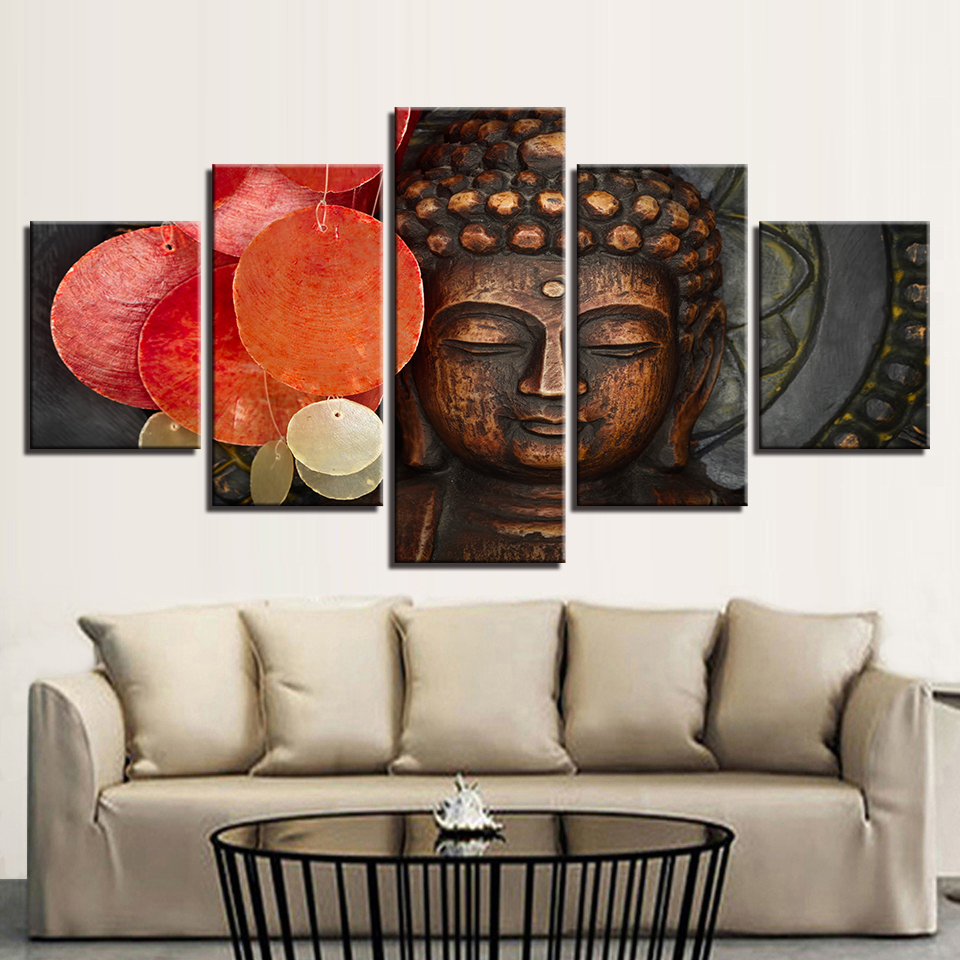 Living Room Home Decoration For Kids Room Framework 5 Panel Figure Of Buddha Canvas Art Print Modular Painting Poster Wall Picture