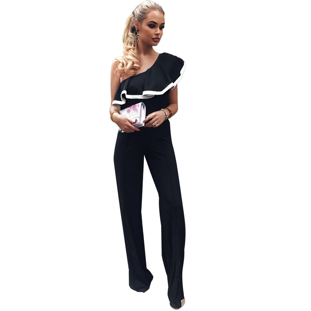 Fashion Women One Shoulder Ruffles Jumpsuit Wide Leg Long Pants Rompers Sexy Slim Overalls Lady Solid Playsuit Combinaison Femme