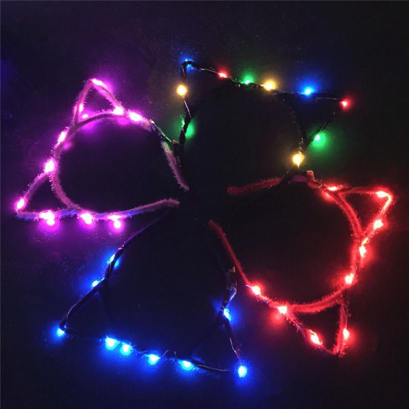LED Stirnband blinkende süße spitze Katze Fox Ohren Haar Hoop leuchtende Lichterketten Plüsch Tuch gewickelt Stirnband Party Supplies