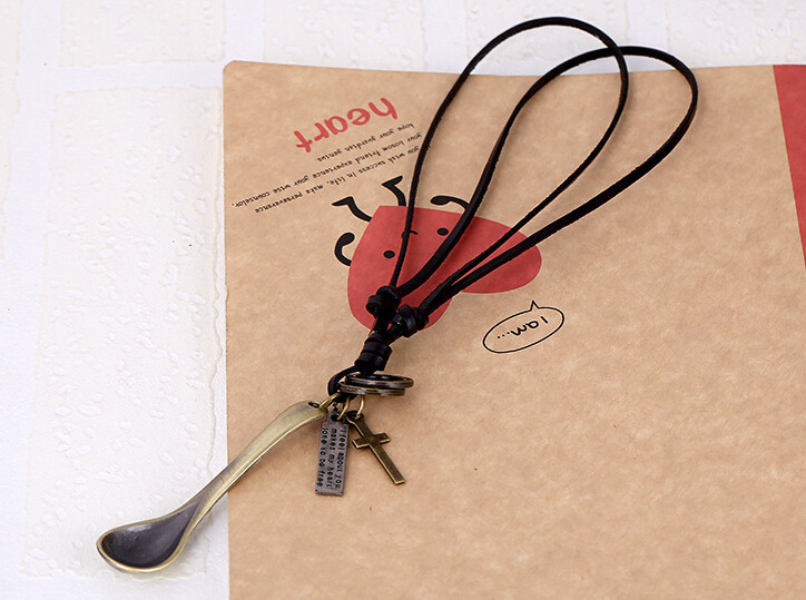 A Soup Spoon Cowhide Necklace Popular Ornaments Genuine Leather Necklace Fashion Cortex Ornaments Yiwu Necklace