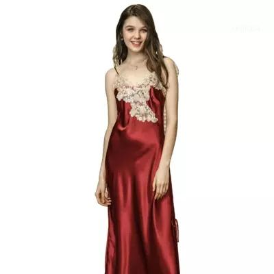 Ladies Long Luxurious Soft Satin Floral Chemise Size Nightdress  8-26