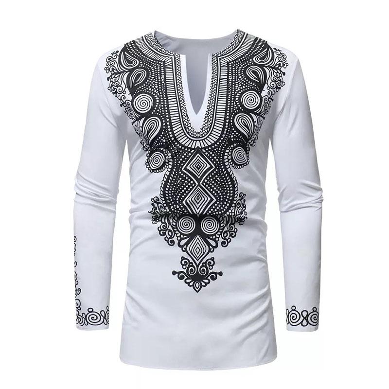 African Dashiki Mens Traditional National Hot Gold Printed Long-Sleeved Shirt FEITONG Gifts for Men