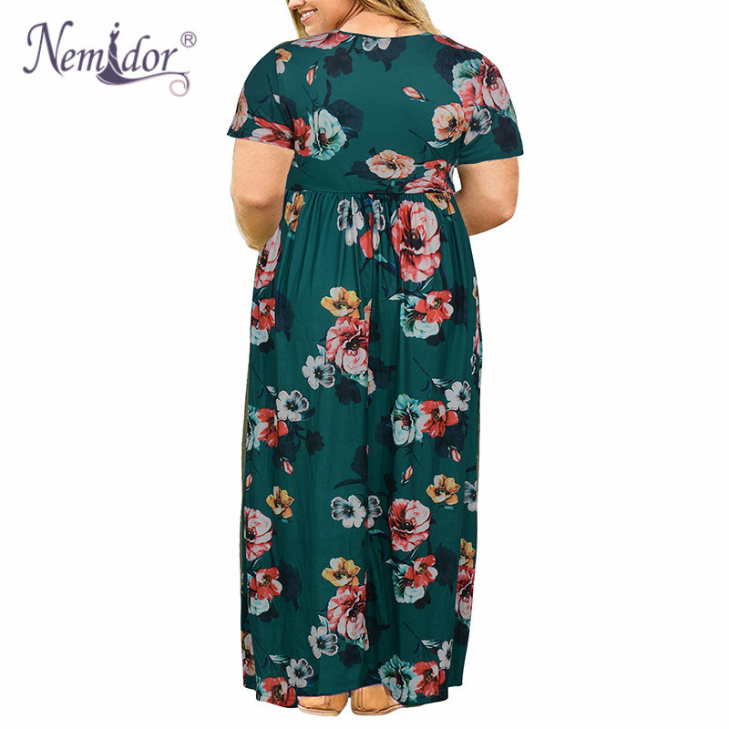 Nemidor Women Short Sleeve Loose Plain Casual Plus Size Long Maxi Dress with Pockets (6)