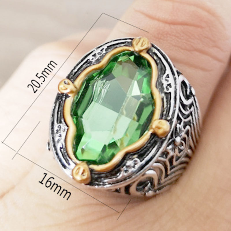 2019 Vintage Rings For Men Big Green Zircon Cz Stone Ring Male Antique Silver Color Carving Ring O5t004