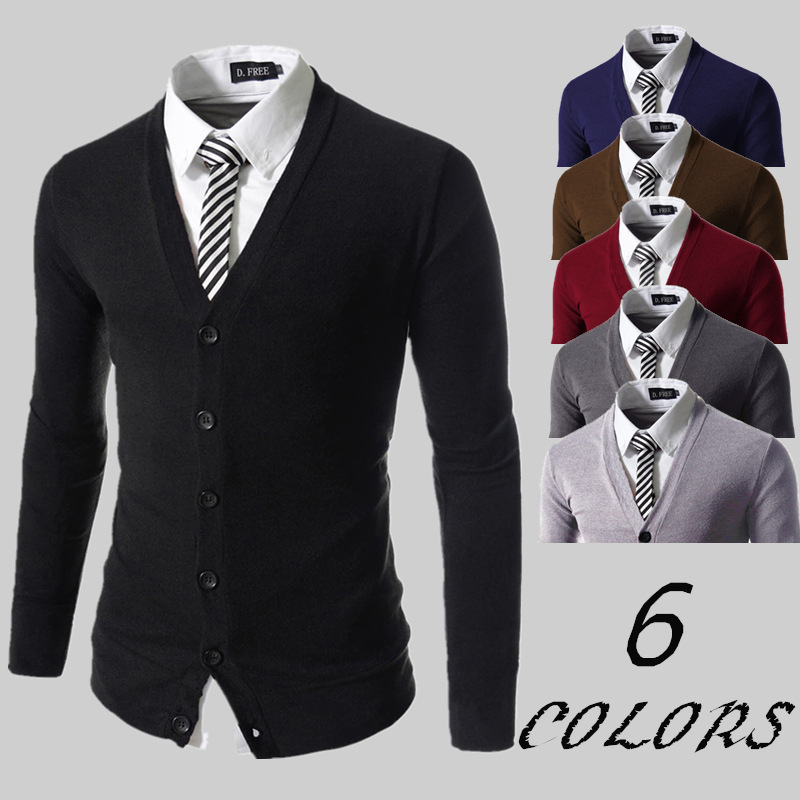 OMINA Mens Woolen Coat Autumn Winter Slim Fit Cardigan Windbreaker Jacket Fashion Casual Pure Color Outwear One Button