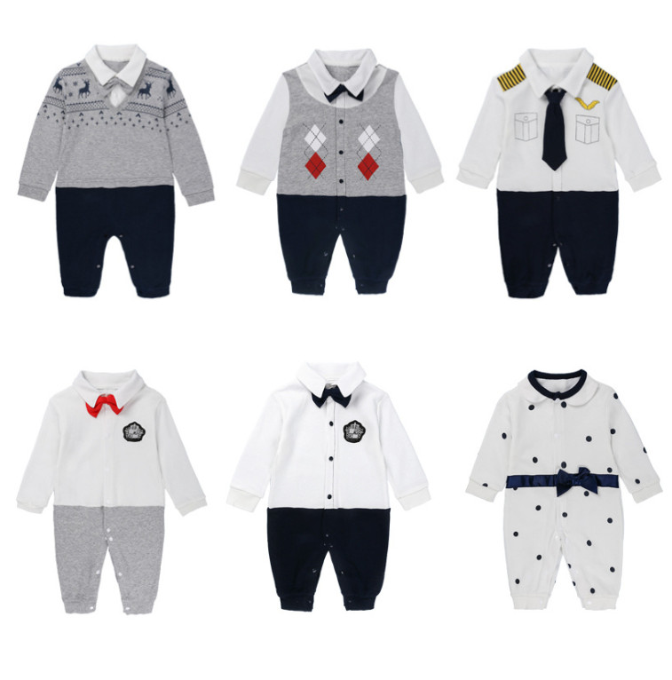 Newborn Baby Boys Cotton Romper Gentleman Outfits Formal Party Jumpsuit Clothes