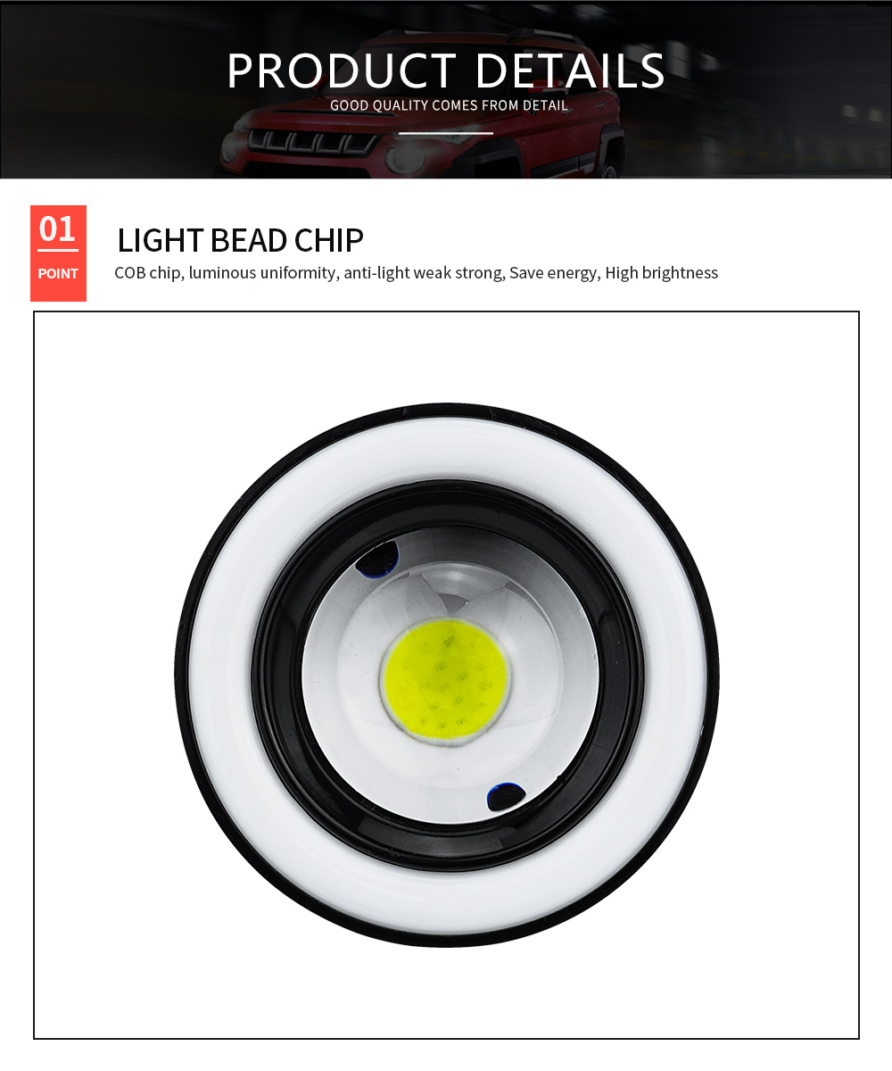 DXZ 2pcs 2.5/3.0/3.5 Inch Car COB LED Fog Light Projector White Angel Eye Light Halo Ring DRL Driving