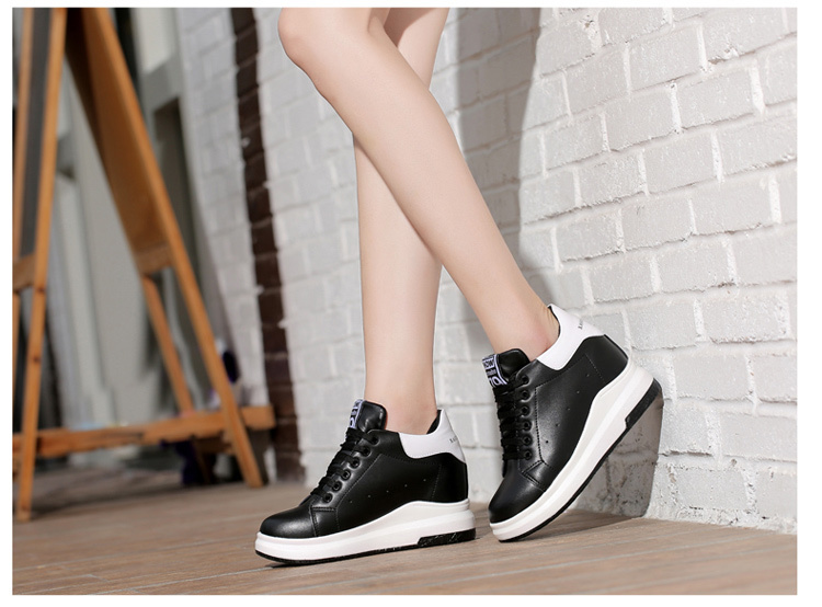 WADNASO Height Increased Casual Shoes Woman Wedge Platform Sneakers Lace Up Breathable Hide Heels Ladies Shoes Female XZ108 (25)