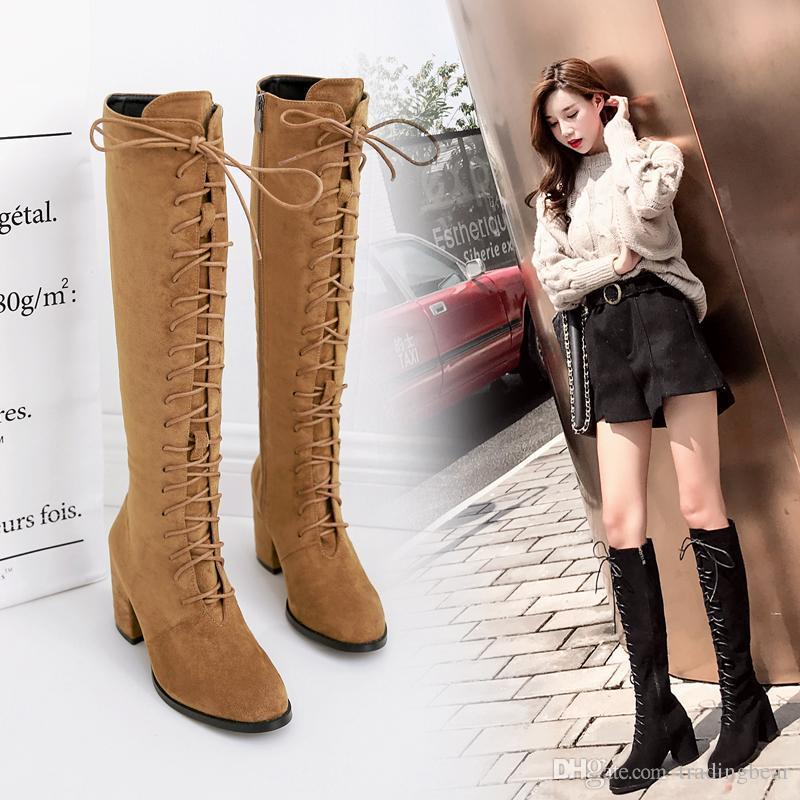 Sexy2019 Lena ViVi Ladies Lace Up Long Boots Knee High Chunky Heels Shoes Brown Synthetic Suede 7.5cm Size To