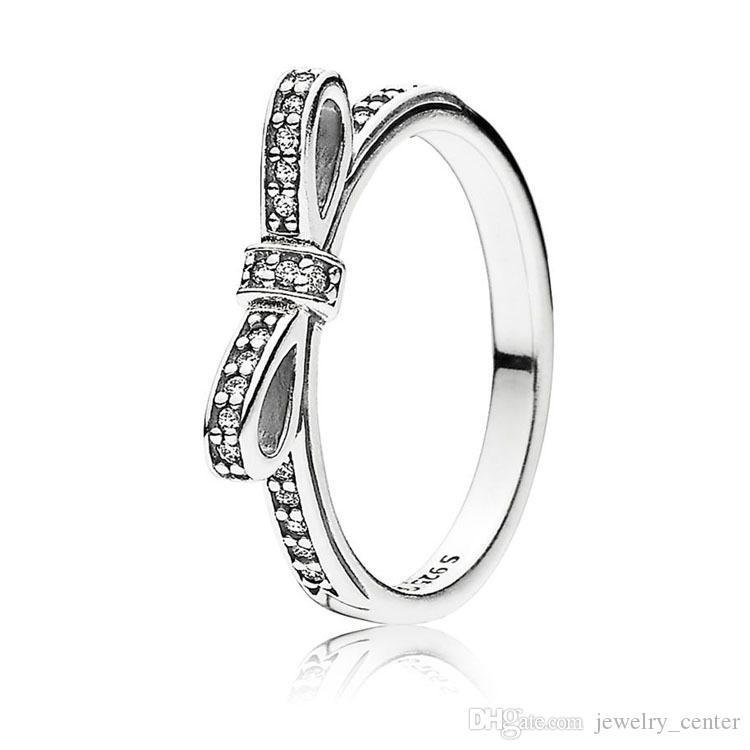 Classic Bow Ring 18K Rose gold Women rings Original Box for Pandora 925 Sterling Silver CZ Diamond Wedding Ring sets