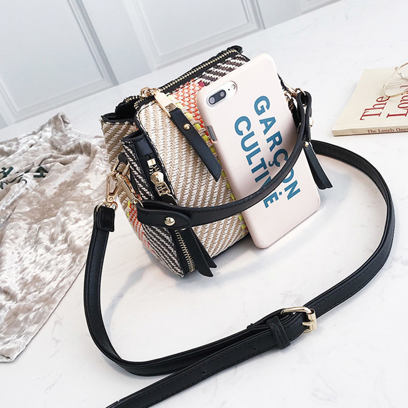 Hot Women Panelled Handbag INS Popular Female Casual Summer Straw Bags Lady Beach Shoulder Bag Fashion Travel Woven Tote SS7221 (10)