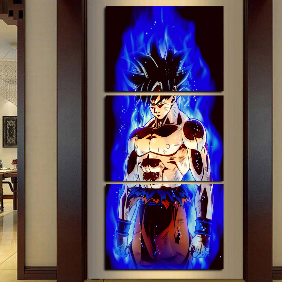 Arte de la pared Pintura de la habitación de los niños Decoración 3 Unidades / set Dragon Ball Animación Lienzo HD Impresión Modular Pictures Frame Poster