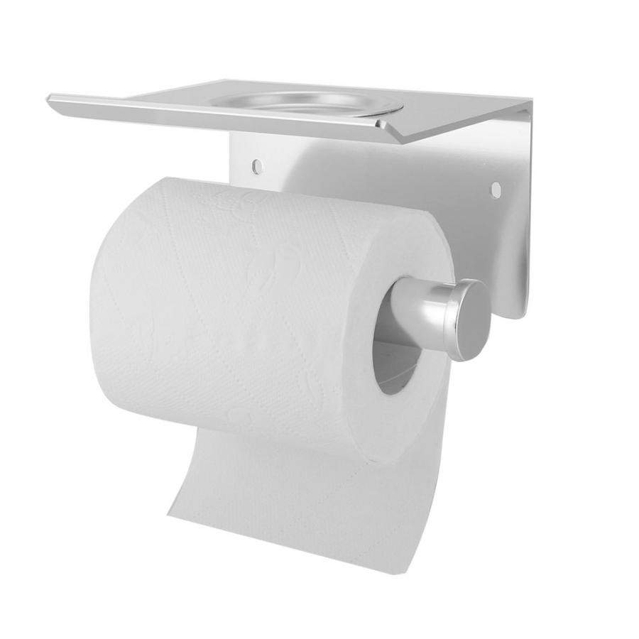 Kein Bohren Toilettenrollenpapier Handtuchhalter Wand-WC-Papier-Gewebe-Halter mit Aschenbecher Badezimmer Supplies