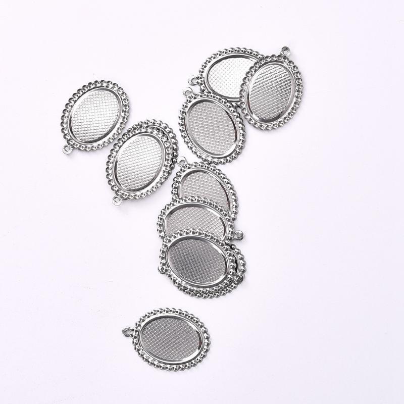 2 piezas Pulsera de Cabujón de Resina sólida Oval grandes espacios en blanco
