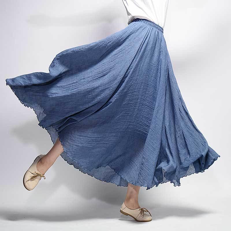 2019 Fashion Design Estate Donna Gonna Lino Cotone Vintage Gonne lunghe Vita elastica Boho Beige Rosa Maxi Gonne Faldas Saia MX190731
