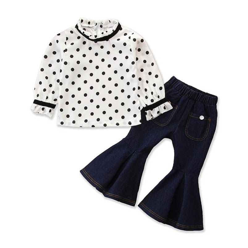 Toddler Kids Girls White Dress Blue Flared Pants Cotton Clothes Outfits /& Sets