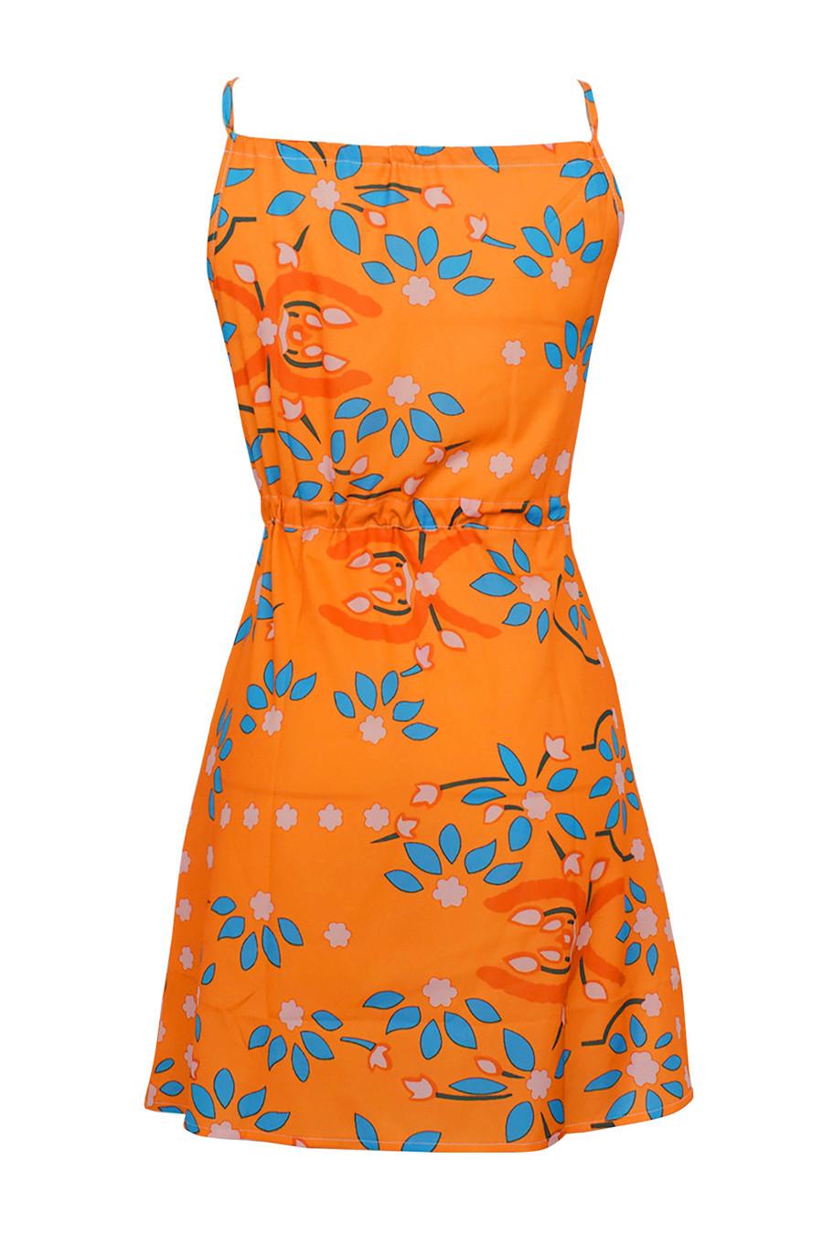 Gladiolus Chiffon Women Summer Dress Spaghetti Strap Floral Print Pocket Sexy Bohemian Beach Dress 2019 Short Ladies Dresses (17)