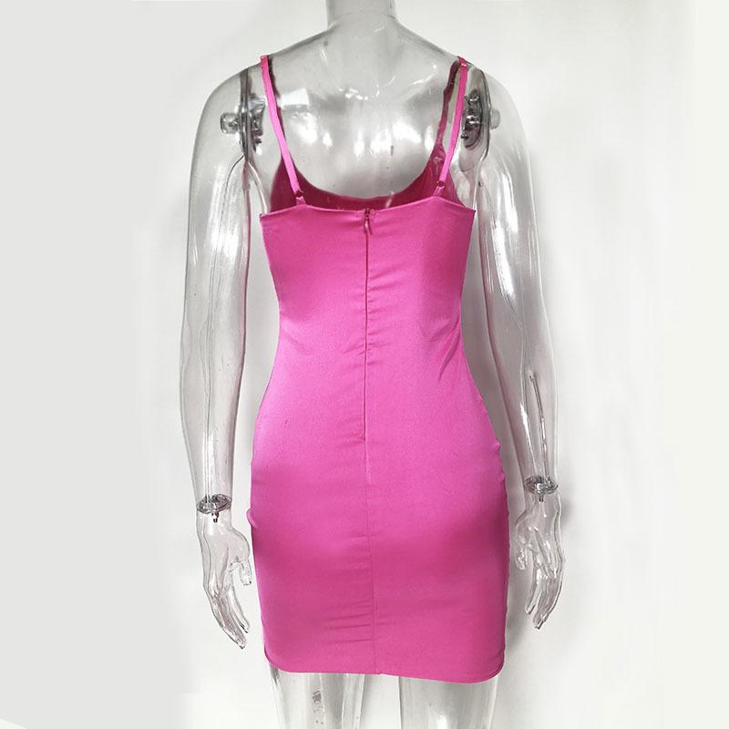 Parthea Lavender Satin Mulheres Sexy Low Cut Backless Bodycon Partido Rosa Clube Desgaste Mini Vestido Preto Vestidos Robe Femme Q190424