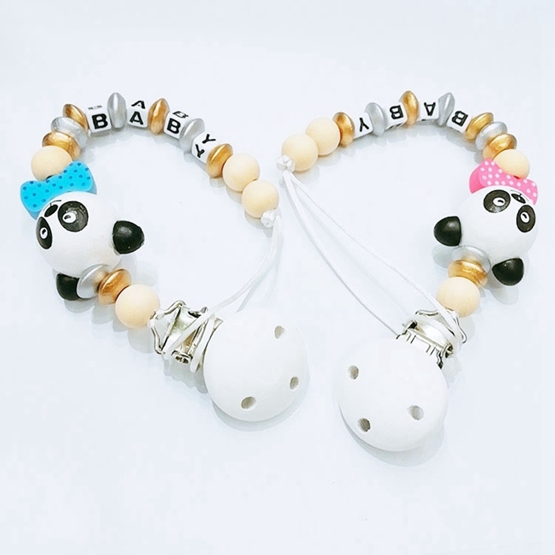 Silicone Pacifier Clip Wooden Bead Dummy Clip Holder Cute Pacifier Clips Soother Chains Baby Teething Toy For Baby Chew