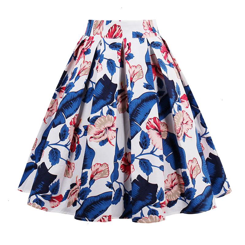 Kostlish Retro Print Flower Summer Skirts Womens High Waist Vintage Skirt Elegant A-Line Midi Women Skirt Plus Size XXL 22 (79)