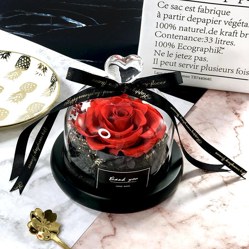 Креативные Подарки Вечный Эксклюзив В Стеклянном Куполе Красавица И Чудовище Роза Романтические Подарки ко Дню Святого Валентина Подарок на день рождения Q190522