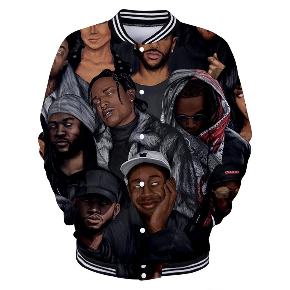 Hoodies 2019 U.s.a Newborn Rap Singer Asap Rocky 3d Leisure Time Men And Women Baseball Clothes Hoodie